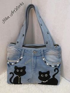 Tendance Sac 2018 : Jeans bagRecycled jeansShoulder handbagcasual denim bag for Handmade Handbag for women, denim, blue jeans handbag, cats Creative Ways To Old Jeans Upcycles Ideas garden crafts for kids easy diy projects for the garden Currently, the ma Denim Handbags, Purses And Handbags, Leather Handbags, Luxury Handbags, Blue Jeans, Jeans Bleu, Denim Jeans, Jeans Pants, Blue Denim