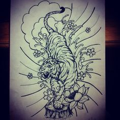 Japanese tiger design tattoo art