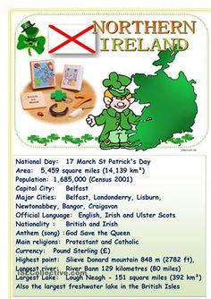 Tell about English-speaking countries Northern Ireland English Lessons, Learn English, Christmas In Britain, Ireland Facts, Brownies Activities, Uk Culture, St Patrick Day Activities, Daisy Girl Scouts, Irish Pride