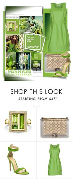 """""""Pantone 2017-Greenery"""" by evachasioti ❤ liked on Polyvore featuring Chanel, Gianvito Rossi and Moschino Cheap & Chic"""