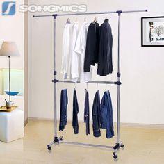 Songmics Verstellbar Kleiderständer Kleiderstange Garderobenständer 198cm LLR41L
