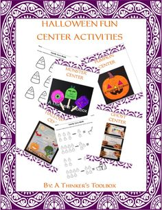 Halloween Fun Center Activities by A Thinker's Toolbox includes 5 center activities to celebrate Halloween.  The 5 centers are the Pumpkin Center, Halloween Center, Candy Corn Center, Monster Center, and Ghost Center.
