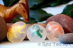 Dino Egg Soaps - a fun activity using Melt & Pour soap... great stocking fillers.
