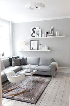 Living Room White, Living Room Paint, Small Living Rooms, Living Room Sofa, Living Room Interior, Rugs In Living Room, Apartment Living, Apartment Design, Apartment Hacks