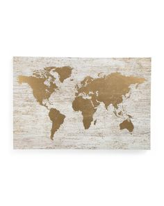 Gimme: Large+Gold+Foil+World+Map+On+Canvas #travel #decor #gold