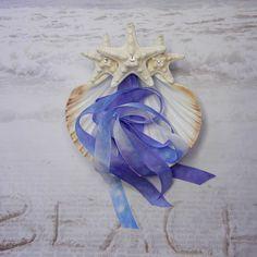 Seastar Blue  Seashell Ring Bearer's Pillow by ShellScapes on Etsy