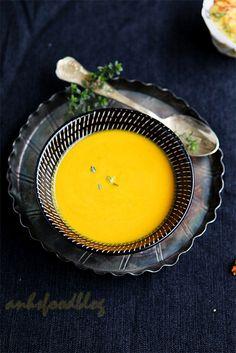 Cheerfully hued Pumpkin Carrot Soup. - okay. YUM.