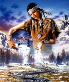 """Some Native Americans attribute the conception and sometimes creation of the universe to the """"Great Spirit"""", also called Gitchi Manitou or Wakan Tanka. Mother Earth and Father Sky or the Moon and Sun sometimes take over."""