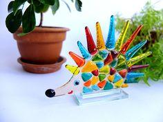 Fused glass Hedgehog Color Hedgehog Glass Souvenir Fusing