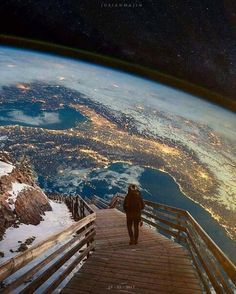 """Day 13 – NaPoWriMo/A to Z Challenge/ Photo Challenge: Clairhews – """"Stairway to Earth"""" Surreal Collage, Surreal Art, Collage Art, Collages, Photomontage, Surrealism Photography, Art Photography, Fantasy Landscape, Fantasy Art"""