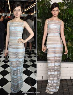 Lily Collins de vestido longo com transparência Georges Chakra   long dress pre Golden Globes 2017 party  http://modaefeminices.com.br/2017/01/07/looks-da-festa-de-lancamento-globo-de-ouro-2017/
