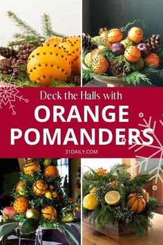 Dec 24, 2019 - Orange Pomanders, an ancient tradition, are an easy, simple, classic and beautiful way to usher the holidays into your home. A natural scent of the holidays! Christmas Topiary, Christmas Home, Vintage Christmas, Christmas Holidays, Christmas Ideas, Natural Christmas, Country Christmas, Homemade Christmas, Christmas Traditions