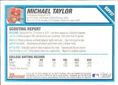 2007 Bowman Draft Picks & Prospects - Draft Picks #BDPP37 Michael Taylor Back
