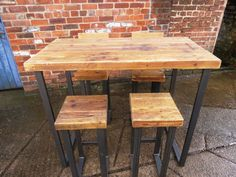 "Beautiful handmade table made from reclaimed solid 2 ½"" thick timber and heavy-duty steel TABLE ONLY – Stools can be purchased separately starting from £69 -Strong 50x25mm steel box section base to keep sturdy and solid Dimensions of item shown in picture- Length 120cm Width 66cm"