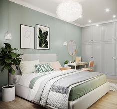 Green And White Bedroom, Green Rooms, Luxury Bedroom Design, Home Room Design, Interior Design, Room Ideas Bedroom, Home Decor Bedroom, Luxurious Bedrooms, Calming Bedroom Colors