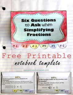 Simplifying Fractions Notebook Template Printable.  Using this with Singapore Math 4A.  Also comes in a one-page worksheet format.