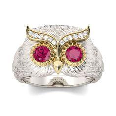 Jeulia Two Tone Feather Round Cut Created Fuchsia Owl Ring