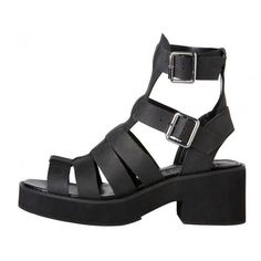 Emerge Black Hers ($105) ❤ liked on Polyvore featuring shoes, sandals, black, boots, black chunky sandals, black shoes, chunky gladiator sandals, summer shoes and chunky-heel sandals