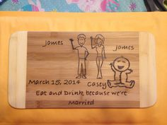 Your Stick figure family cutting board  on Etsy, $25.00 CAD