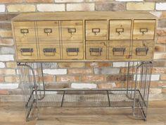 Elderflower Lane - Superb wooden & metal industrial vintage cabinet/bank of drawers.