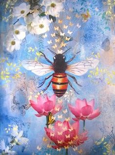 Bee Lessons mixed media archival print on wood panel 12 x 16""