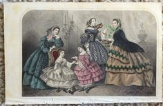 """Lady Godey's 1857 """"Easter"""" Hand Tinted Print 9"""" wide x 5.75"""" high"""