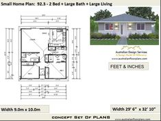 Granny pods floor plans 2 Bedroom House Plan 968 sq feet or 90 2 small home Modern House Floor Plans, Colonial House Plans, Home Design Floor Plans, Bungalow House Plans, Cottage House Plans, Craftsman House Plans, Country House Plans, House Plans For Sale, House Plans With Photos