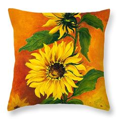 African Sunflower Throw Pillow by Dawn Broom. Our throw pillows are made from spun polyester poplin fabric and add a stylish statement to any room. Pillows are available in sizes from 14
