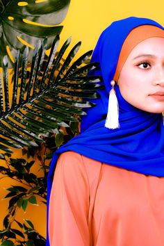 Azure Blue Hijab with Tassle Earrings in White. Paired it with A Burnt Sienna Orange tone colour Ribbon Top. Modest with Confidence for the Muslimah or Muslim Women Fashion. Bold Fashion, Modest Fashion, Hijab Fashion, Hijab Makeup, Dewy Makeup, Muslim Women Fashion, Womens Fashion, Modest Wear, Hijab Outfit