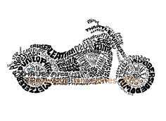 Pen and Ink Calligraphy Motorcycle Drawing Harley Davidson Word Art, Motorcycle Art Typography Illustration Calligram for Bikers. $19.50, via Etsy.