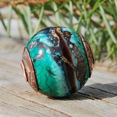 Emerald Isle   Cored 'n Capped K O Lampwork Big Hole by koregon, $37.00
