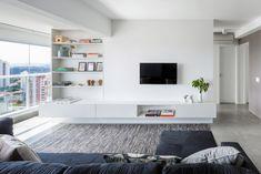 Sala de estar com decoração minimalista e clean
