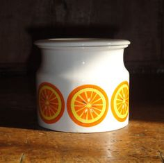 Vintage FINLAND ARABIA orange jar with lid