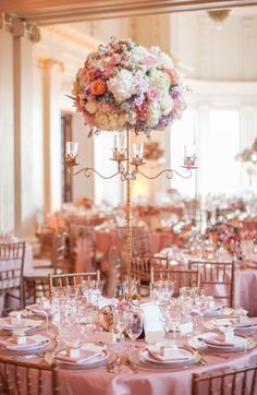 The Flood Mansion San Francisco glowing in the afternoon California Sun. Beautiful tall floral arrangements in the center of each table give the room a classic elegant simplicity. Photos by Clane Gessel Photography Decoration Table, Reception Decorations, Event Decor, Wedding Centerpieces, Wedding Table, Tall Centerpiece, Centrepieces, Floral Centerpieces, Dream Wedding