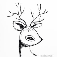 Deer. Day 143 of yearlong sketchbook project. Cassie Loizeaux 2014