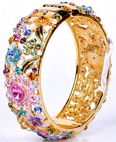 Amazon.com: Rainbow Multicolor Austrian Crystals Cuff Bracelet Gold Plated Filigree Bangle Women Statement Jewelry: Jewelry