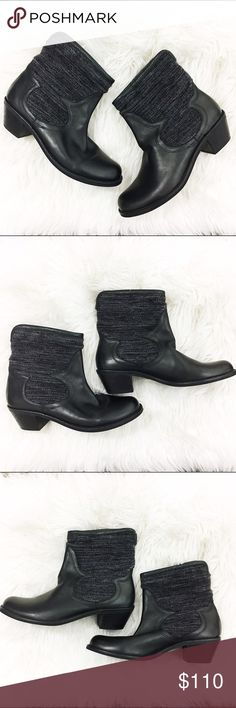 Fortress of Inca black leather and fabric.booties Awesome hand made in Peru, fair trade, ethically made booties. Leather & handwoven wool upper. These are really well made and fabulous. They will go with all of your free people dresses,cut offs,& embroidered goodness. There is no size on these, but I am a 7.5, & they fit me, but a bit snug. I have a wide foot, so these are best for a medium width in my opinion. They are leather, and these don't appear to have been worn much at all, so they…