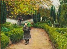 """""""Vista desde el cementerio de Rønnebæk cerca de Køge con una niña con flores"""". Hans Andersen Brendekilde (Danish, 1857 - 1942)"""