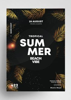 Download Summer Gold PSD Flyer Template for free. This tropical summer flyer is editable and suitable for any type of sunset party, summer party, dj, tropical vibe and other. Free Psd Flyer Templates, Event Flyer Templates, Spring Break Party, Party Summer, Sunset Party, Invitation Flyer, Free Wedding Invitations, Promotional Flyers, Social Media Banner