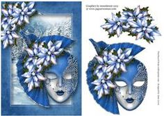 Ice Blue Poinsettia Christmas Masque