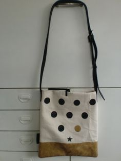 bag form handpainted fabric and vintage leather (Hil/70)