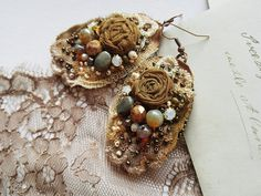 Shabby Victorian earrings Vintage inspired romantic by PintOfTint