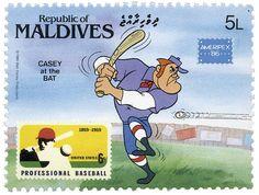 """MALDIVAS Maldivas, 1986 Personajes de Disney y Leyendas Americanas. """"Casey al bat"""" Colección presentada en la exhibición americana de filatelia internacional. El timbre impreso dentro del timbre corresponde a la emisión de Estados Unidos de 1969, conmemorando el centenario del beisbol profesional."""