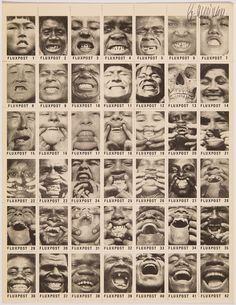 George Maciunas SMILE STAMPS/FLUXPOST, 1978 A sheet of 42 black and white images on rummed and perforated paper. The stamps are identified sequentially Fluxpost 1-42. The total number of sheets printed was 833, 30 sheets are signed by Maciunas. Signed copy 11 x 8 1/2 in. Silverman no.. 277. Fluxus Edition Part of the upcoming exhibition HERE COMES FLUXUS opening April 30, 2016 at Track 16.