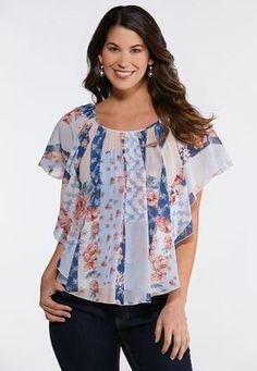 786c308fbdf91 Plus Size Floral Patchwork Caplet Shirts   Amp   Blouses Cato Fashions