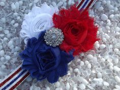 4th of July Baby Headband  Red White and Blue by HairNonsense