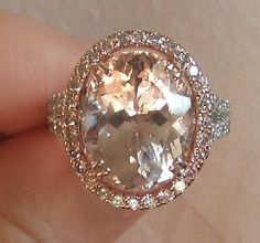 6 ct Morganite with pink diamond halo