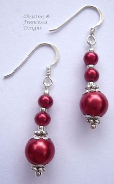 Gorgeous colour glass pearls in a lovely design ♥ .925 Sterling Silver DARK RED Glass Pearl Long Drop Earrings + Gift Box & Organza Gift Bag ~ by Christine & Francesca Designs