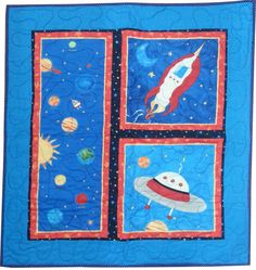 Outer Space Quilt for Baby or Toddler Wall by Sieberdesigns