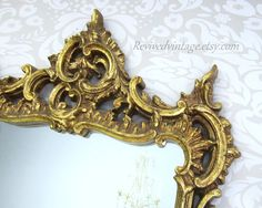 HOLLYWOOD REGENCY FURNITURE Large Gold Mirror by RevivedVintage